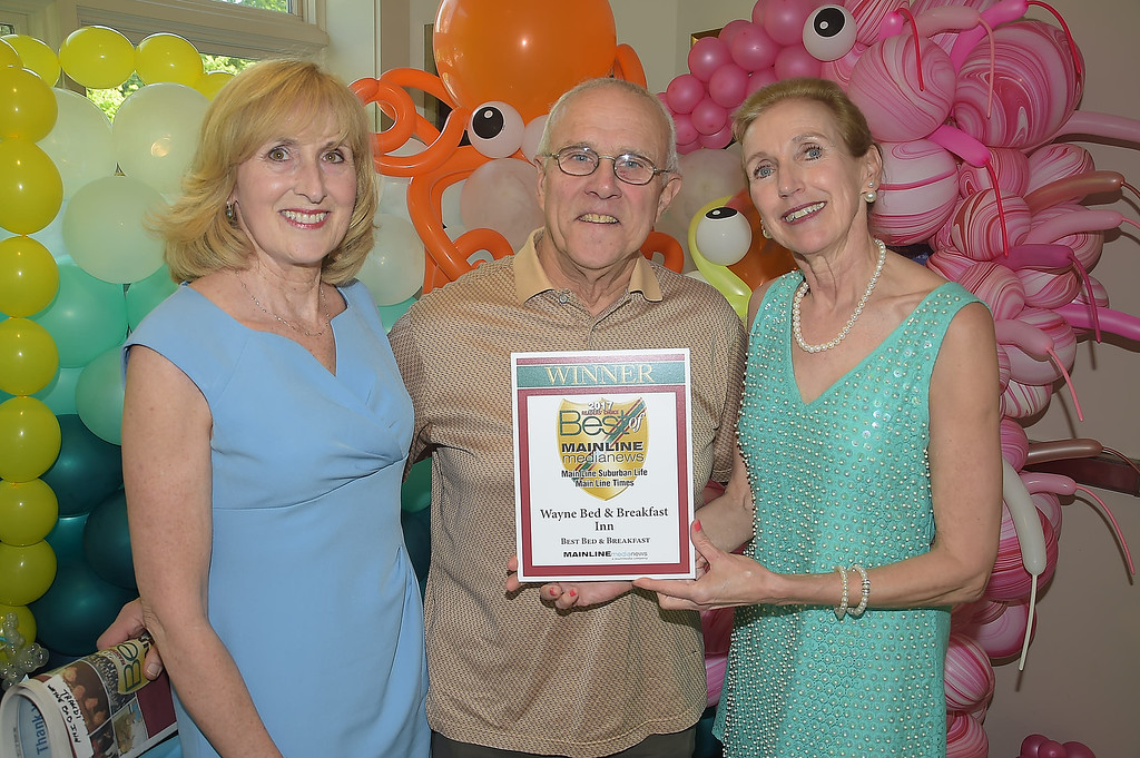 . PETE BANNAN - DIGITAL FIRST MEDIA      The Main Line Readers Choice Party was held at the Wayne Art Center Wednesday.  Digital First Media accountant manager with Bob and Traudi Thomason of Wayne Bed and Breakfast were among the businesses honored as the Best of the Main Line.