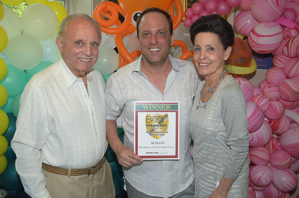 . PETE BANNAN - DIGITAL FIRST MEDIA      The Main Line Readers Choice Party was held at the Wayne Art Center Wednesday.  Matt, Michael and Dory DiDomenico of 30 Main were among the businesses honored as the Best of the Main Line.