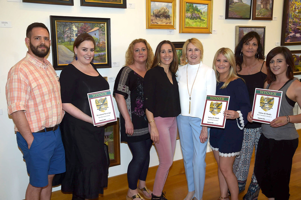 . PETE BANNAN - DIGITAL FIRST MEDIA      The Main Line Readers Choice Party was held at the Wayne Art Center Wednesday.  (Left to right) Ted and Jenny Tabas, of Rosemont Beverage, Jennifer Cook, Laura Frustaci,Digital First Media accountant manager Edna Woods, Jackie Kahler, Athima Bouikidis and Tina Ciacobetti  of Salon di Moda were among the businesses honored as the Best of the Main Line.