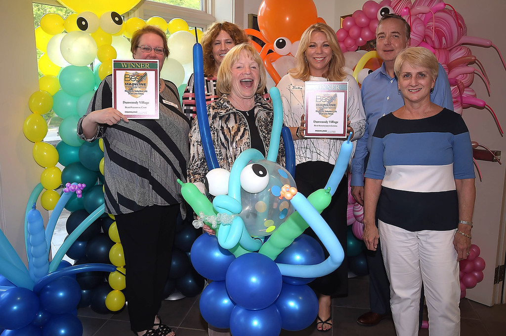 . PETE BANNAN - DIGITAL FIRST MEDIA     The Main Line Readers Choice Party was held at the Wayne Art Center Wednesday.   (Left to right) Kathy Barton, Wendy Hix, Sherry Smyth, Jennifer Furjanic, Mary Cermignano and Curt Sayers, all from Dunwoody Village, were among the businesses honored as the Best of the Main Line.