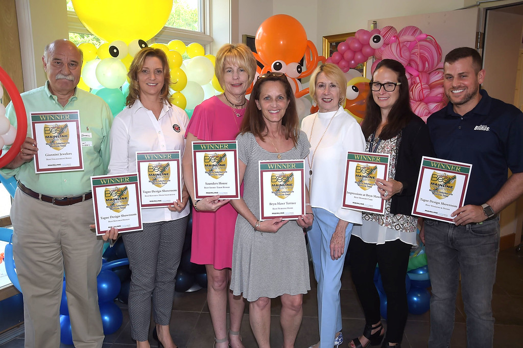 . PETE BANNAN - DIGITAL FIRST MEDIA      The Main Line Readers Choice Party was held at the Wayne Art Center Wednesday.  (Left to right) John Iannacone of Giannini Jewelers, Maura Crago of Tague Lumber, Terry Belk  of Saunders House, Cathy Town of Bryn Mawr Terrace, Digital First account manager Edna Woods, Sharon Major of Impressions at Bryn Mawr and Michael Fineman were among the businesses honored as the Best of the Main Line.