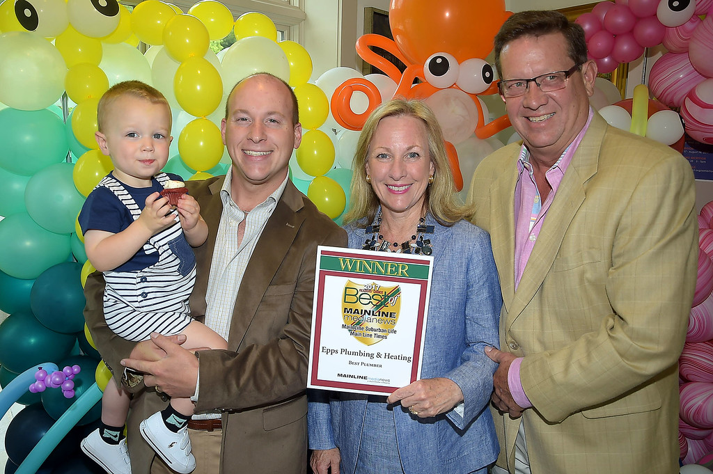 . PETE BANNAN - DIGITAL FIRST MEDIA      The Main Line Readers Choice Party was held at the Wayne Art Center Wednesday.  (Left to right) Shaun, Henry, Ellen and Alan Epps of Epps Plumbing and Heating were among the businesses honored as the Best of the Main Line.
