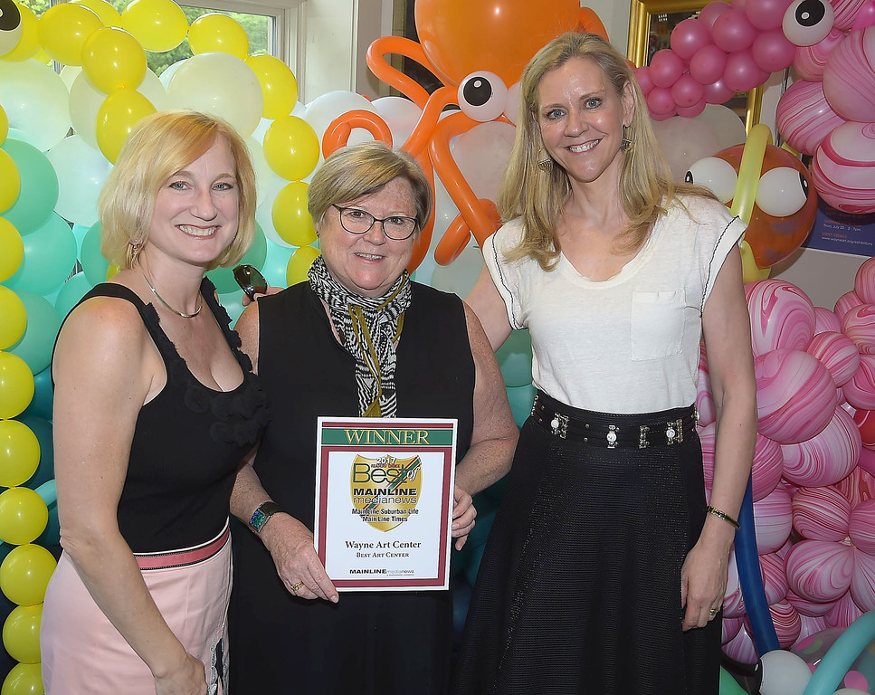 . PETE BANNAN - DIGITAL FIRST MEDIA      The Main Line Readers Choice Party was held at the Wayne Art Center Wednesday. Karen Louise Fay, Nancy Campbell and Emma Fogt of Wayne Art Center from the Wayne Art Center with their Best of the Main Line plaque.