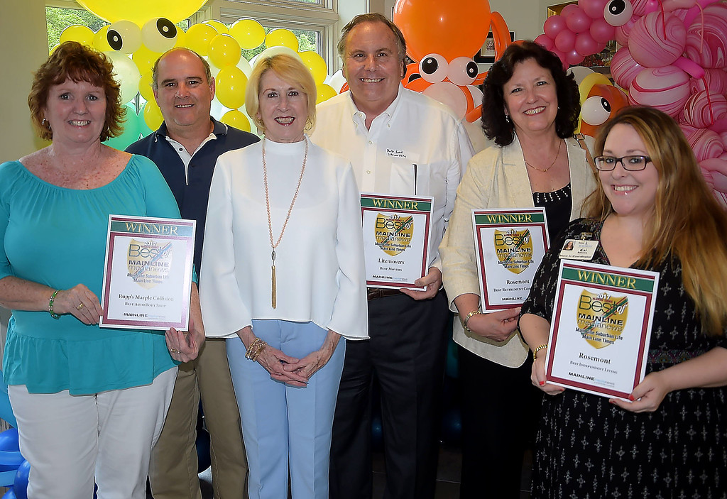 . PETE BANNAN - DIGITAL FIRST MEDIA      The Main Line Readers Choice Party was held at the Wayne Art Center Wednesday.  (Left to right) Eileen and Chris Rupp of Rupp\'s Marple Collections, Digital First account manager Edna Woods,Rob Lail of Litemovers, Pat Dawson and Kai Saloma of Rosemont Independent Living were among the businesses honored as the Best of the Main Line.