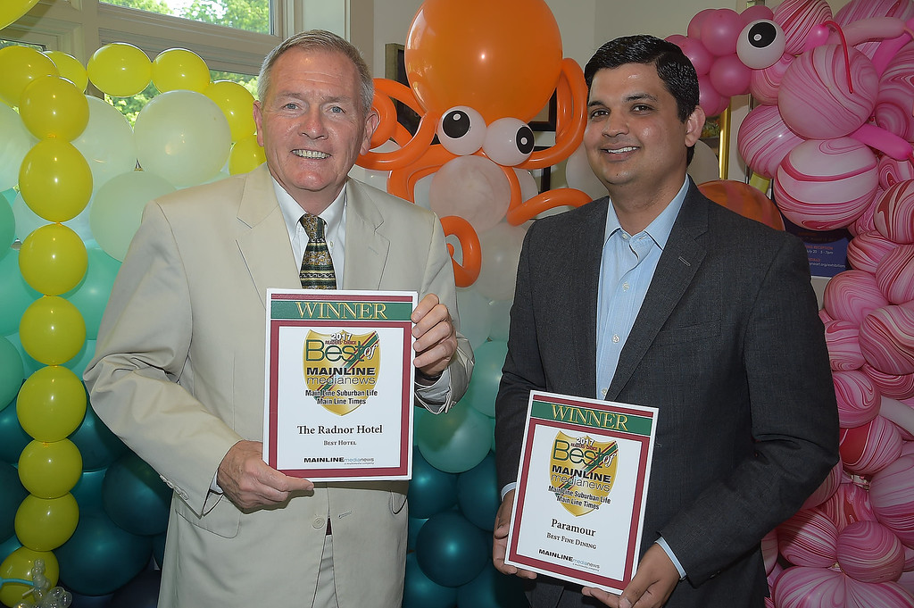 . PETE BANNAN - DIGITAL FIRST MEDIA      The Main Line Readers Choice Party was held at the Wayne Art Center Wednesday.  Louis Prevost of the Radnor Hotel and Sachin Siwach of Panamour were among the businesses honored as the Best of the Main Line.