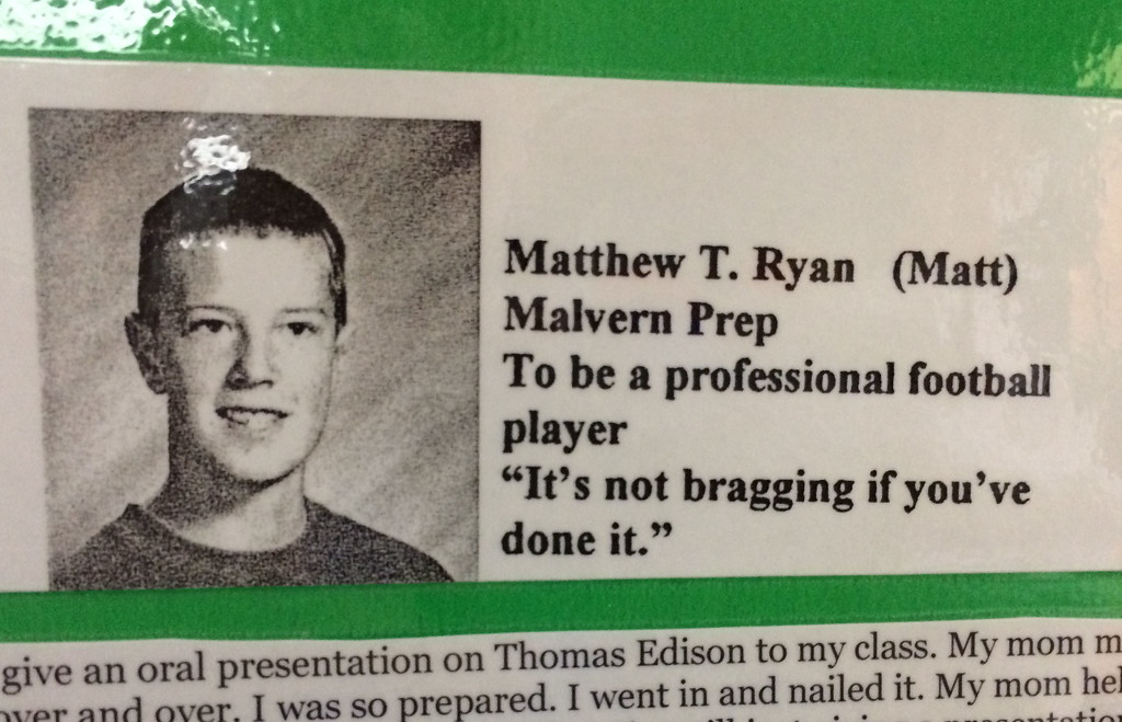 . PETE  BANNAN-DIGITAL FIRST MEDIA    Atlanta Falcon\'s quarterback, Matt Ryan\'s 1999 elementary school year book photo and quote from The SS. Philip & James school in Exton.