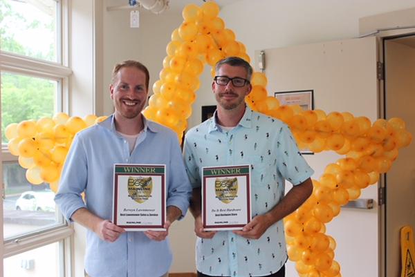 Shelley Meenan - Digital First Media<br /> Ryan Ercole, of Berwyn Lawnmower, which won Best Lawnmower Sales/Service,  and Jim Judge, of Do It Best Hardware Center of Wayne, Best Hardware Store.