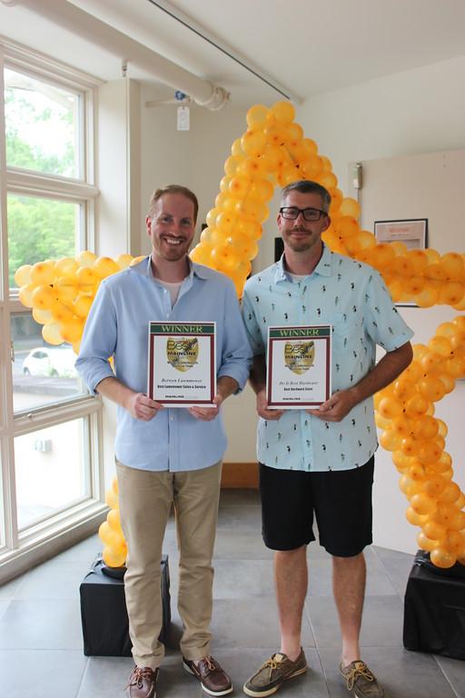 . Shelley Meenan - Digital First Media Ryan Ercole, of Berwyn Lawnmower, which won Best Lawnmower Sales/Service,  and Jim Judge, of Do It Best Hardware Center of Wayne, Best Hardware Store.