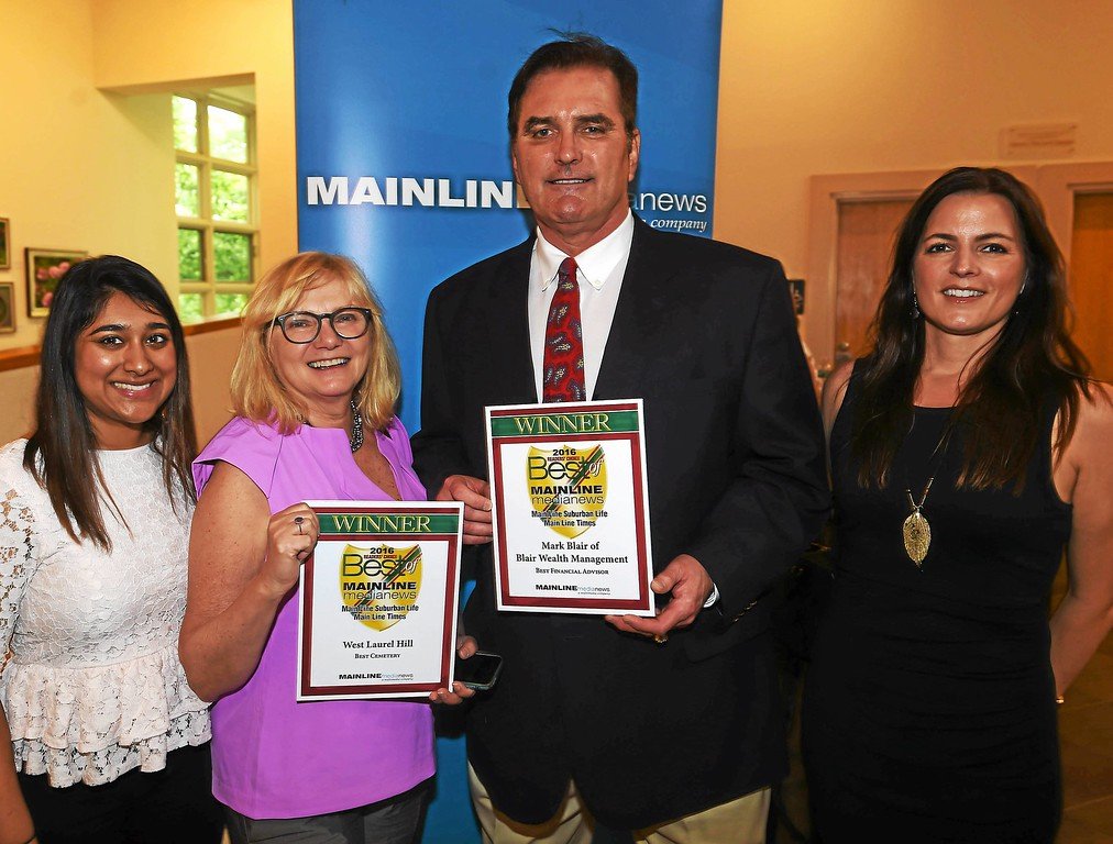 ". Priyanka Setty and Michele Meckler of West Laurel Hill Cemetery & Funeral Home, with Mark Blair of Blair Wealth Management ""Best Financial Advisor\"" and Robyn Axner-Davis of Furmann Communications."
