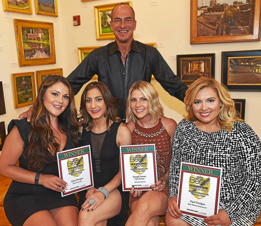 ". Opal Designs\' Joseph Ferrer was named ""Best Hair Stylist\""; his salon on Louella Court in Wayne also won \""Best Haircut\"" and  \""Best Women\'s Haircut\"" with staff Christina Michele, Nicole D\'Angeli, Lauren Hoffman, and Chelsea Seaster."