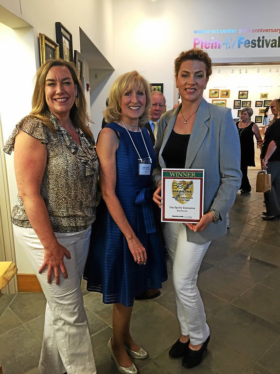 ". At the celebration are (fom left) Deanna Doane, vice president of Wayne Business Association; Kathy O\'Keeffe of Main Line Media News; and Zsuzsanna Beyer of Day Spa by Zsuzsanna in Wayne, winner of ""Best Day Spa 2016.\"""