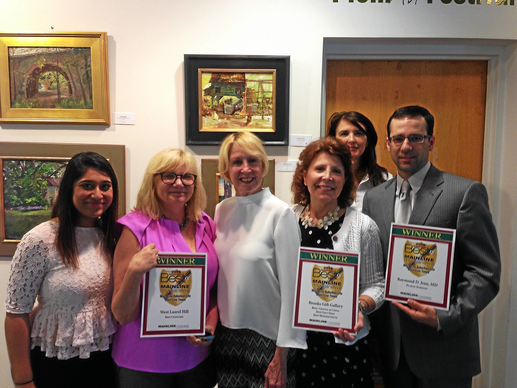 . Delighted to attend and pick up their awards are (from left) Priyanka Setty and Michele Meckler, representing West Laurel Hill Cemetery & Funeral Home; Ducky Woods, Main Line Media account rep; Pat Mahoney of Brooks Gift in Drexel Hill; and Annie Smyth and Dr. Raymond Jean of Main Line Plastic Surgery in Bryn Mawr.