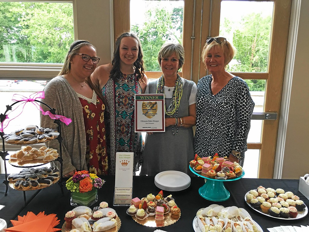 . Serving up wonderful delights to the other winners are (from left) Sara Denman, Ashley Nuss, Renee Capetola and JoAnne Dippolito, owner of the Ultimate Bake Shoppe in the Ardmore Farmers Market. Congratulations to the 2016 winner for Best Desserts!
