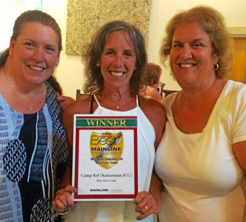 . Camp KEF is excited to win Best of the Main Line for day camp. Pictured are (from left) camp unit head Tammy Roberts, camp director Marci Rubin and Marti Berk, director of community engagement.