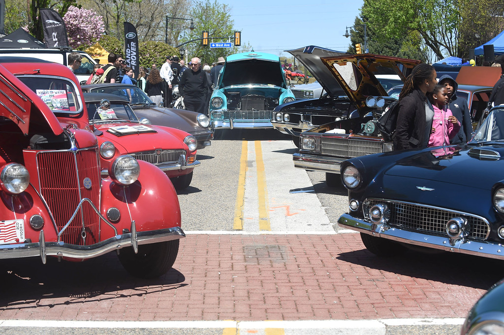 . PETE BANNAN-DIGITAL FIRST MEDIA  Antique and classic cars lined N. Wayne and West Aves. in Wayne Sunday as the fourth annual Wheels of Wayne car and motorcycle show brought Porsches, Mustangs, even the Wienermoblie to town.