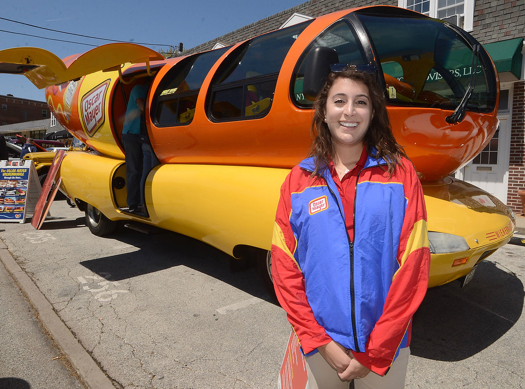 . PETE BANNAN-DIGITAL FIRST MEDIA  Radnor High School class of 2011 grad Ilana Ruben brought the Oscar Meyer Wienermobile to the Wheels of Wayne car show.  Ruben has been traveling the Country in the giant sandwich for the past year since graduating from Penn State.