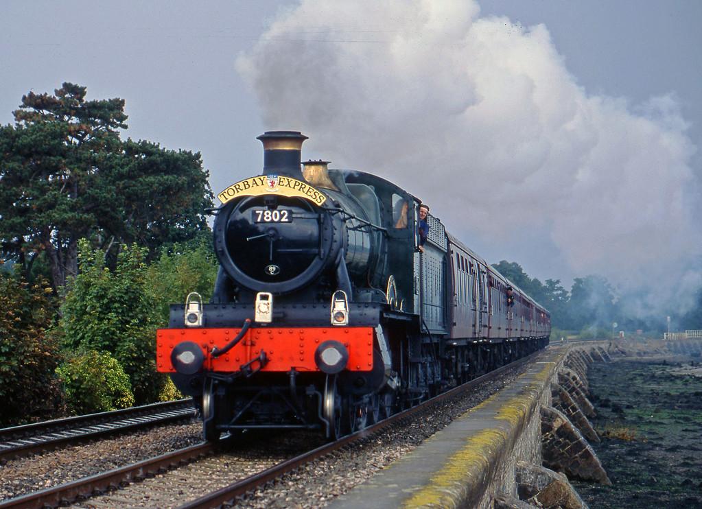 7802, 09.15 Bristol Temple Meads-Kingswear, Torbay Express, Powderham, near Starcross, 7-9-03.