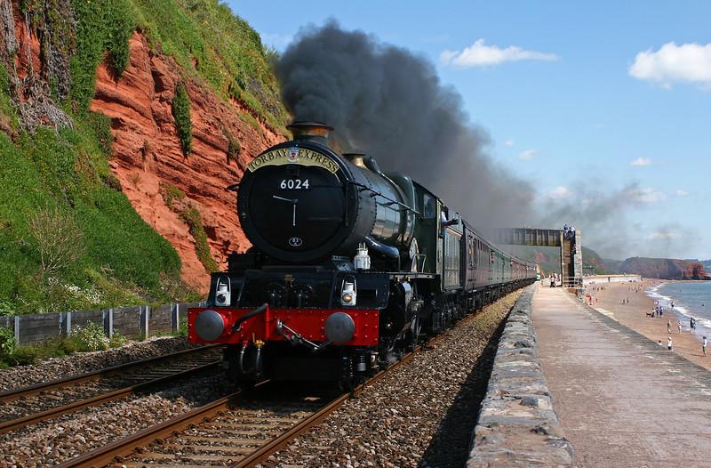 6024, 09.25 Bristol Temple Meads-Kinsgwear, Torbay Express, Dawlish, 7-8-05.