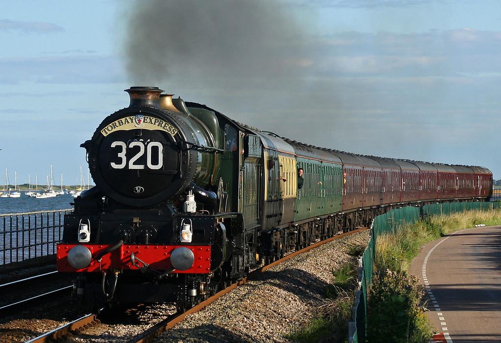 6024, 17.17 Kingswear-Bristol Temple Meads,  Torbay Express, Powderham, near Starcross, 29-7-07.