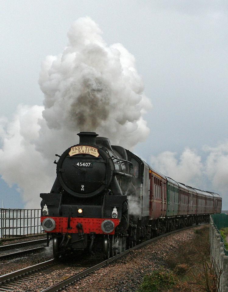 45407, 13.28 Buckfastleigh-Exeter St David's, Powderham, near Starcross, 29-3-07. Past Time Rail's Cornish and Devon Branchline Steam Week.