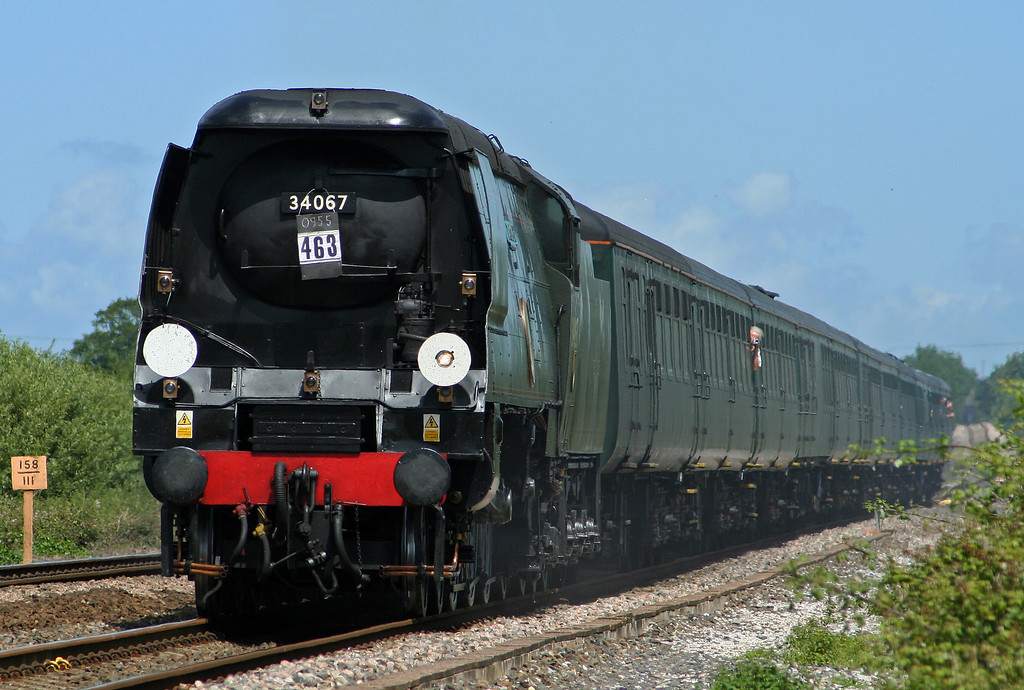 34067 Tangmere, 09.25 London Victoria-Minehead, Cathedrals Express, Cogload Junction, 18-7-07.