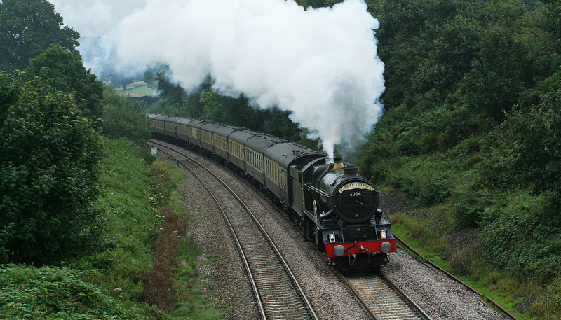 6024, 09.18 Bristol Temple Meads-Kingswear, Torbay Express, Whiteball, 31-8-08.