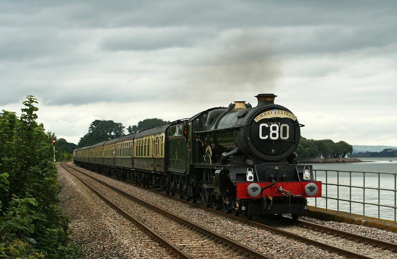 6024, 09.18 Bristol Temple Meads-Kingswear, Torbay Express, Powderham, near Starcross, 3-8-08.