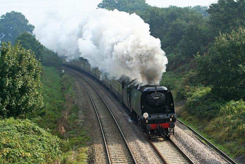 34067, 09.18 Bristol Temple Meads- Kingswear, Torbay Express, Whiteball, 21-9-08.