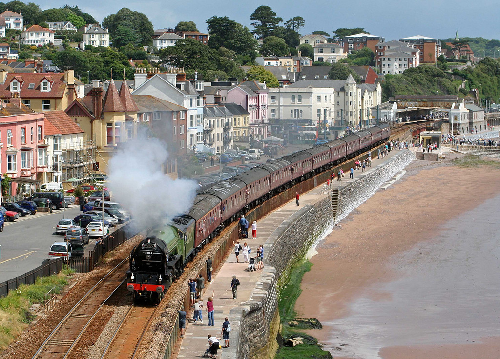 60163, 09.15 Bristol Temple Meads-Kingswear, Torbay Express, Dawlish, 5-7-09. Image used in Railways Illustrated.