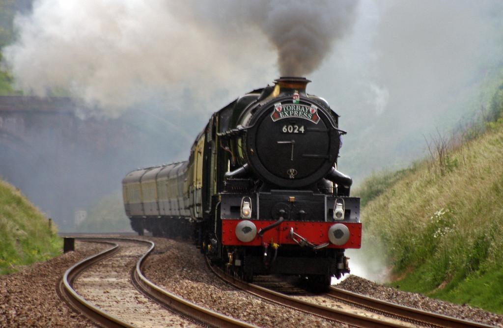 6024, 16.42 Kingswear-Bristol Temple Meads, Torbay Express, Marlands, near Wellington, 13-6-10.