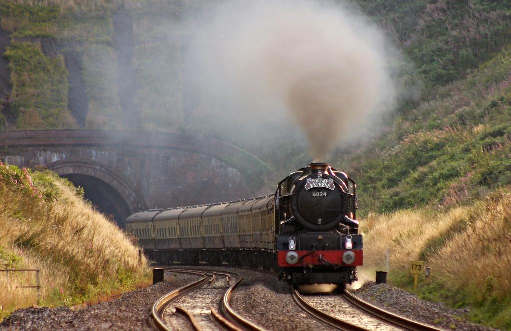 6024, 16.42 Kingswear-Bristol Temple Meads, Torbay Express, Marlands, near Wellington,, 15-8-10.