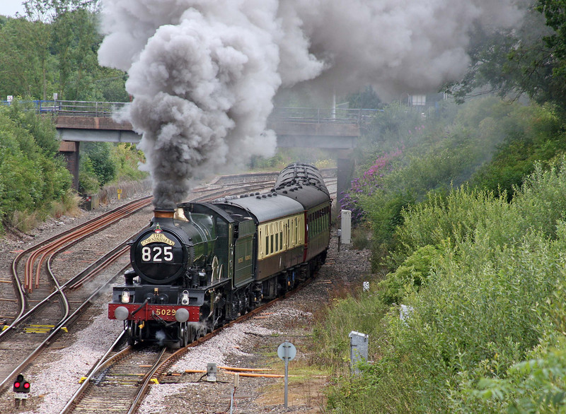 5029, 08.05 Bristol Temple Meads-Par, The Cornishman, departs Tiverton Loops, Willand, near Tiverton, 10-7-11.