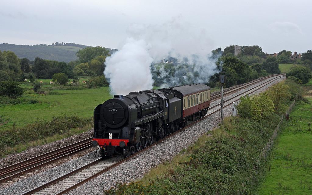 70000, 16.35 Exeter St David's-Bishops Lydeard (West Somerset Railway), Rewe, near Exeter, 6-9-11.