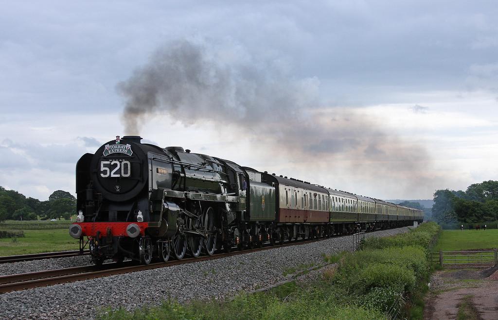 70000, 16.50 Kingswear-Bristol Temple Meads, Torbay Express, Pugham Crossing, near Burlescombe, 1-7-12.