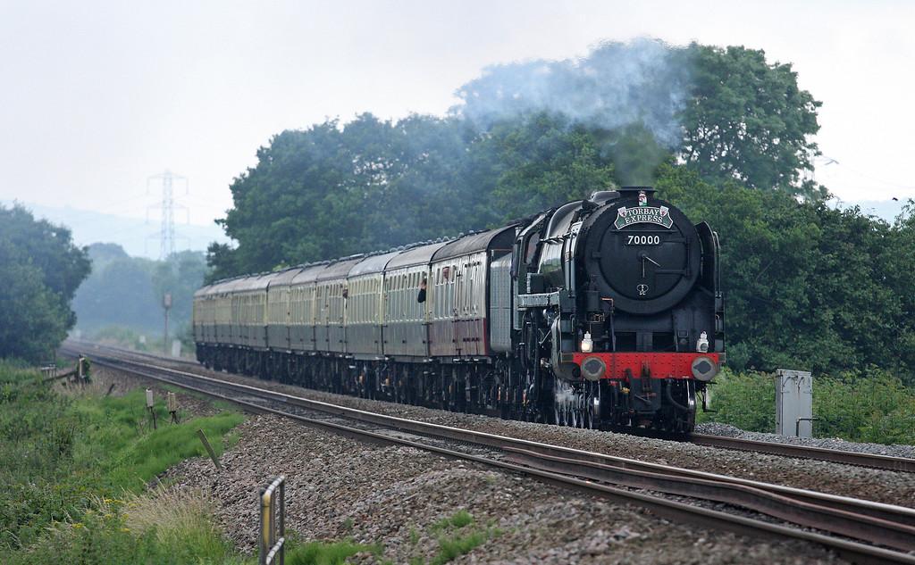 70000, 16.50 Kingswear-Bristol Temple Meads, Torbay Express, Pugham Crossing, near Burlescombe, 8-7-12.