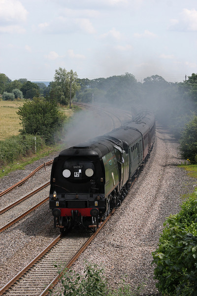 34067, 08.05 London Paddington-Minehead, The West Somerset Steam Express, Creech St Michael, near Taunton, 21-7-12.