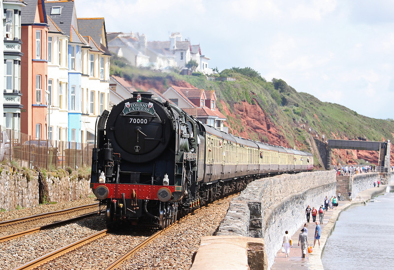 70000, 09.15 Bristol Temple Meads-Kingswear, Torbay Express, Dawlish, 8-7-12.