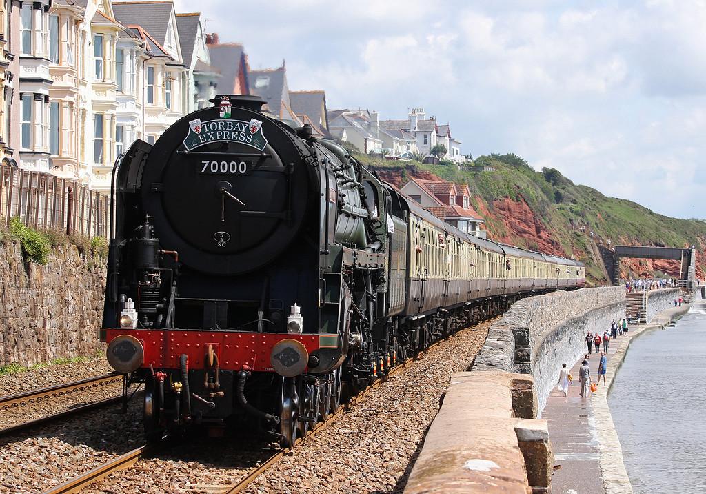 70000, 09.15 Bristol Temple Meads-Kingswear, Torbay Express, Dawlish, 8-7-12.