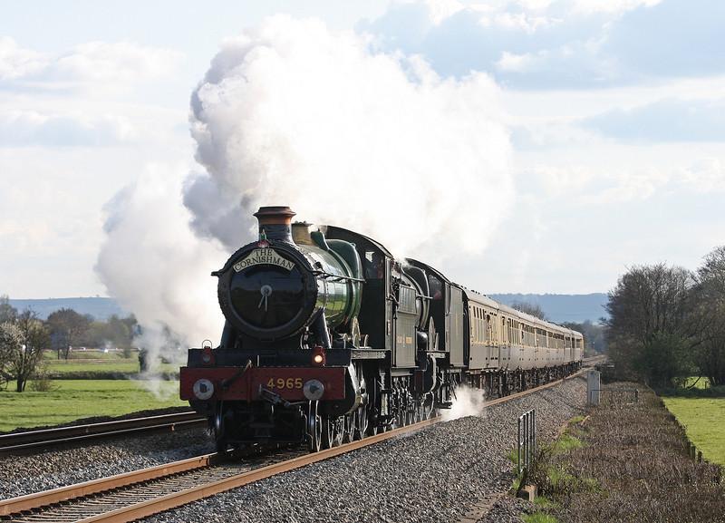 4965/5043, 16.35 Plymouth-Tyseley Steam Trust, Pugham Crossing, near Burlescombe, 27-4-13.