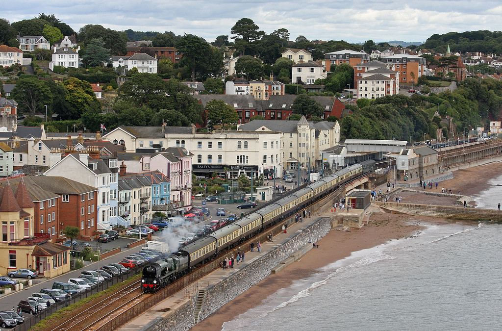 34046, 09.15 Bristol Temple Meads-Kingswear, Torbay Express, Dawlish, 8-9-13.
