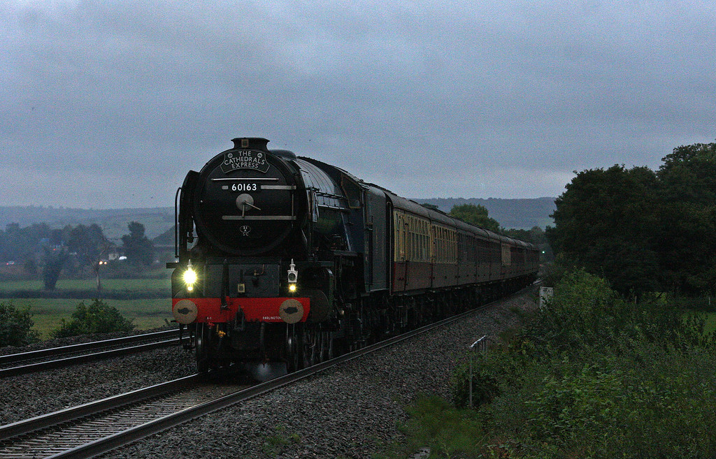 60163, 17.11 Kingswear-Staines, The Cathedrals Express, Pugham Crossing, near Burlescombe, 17-9-13.