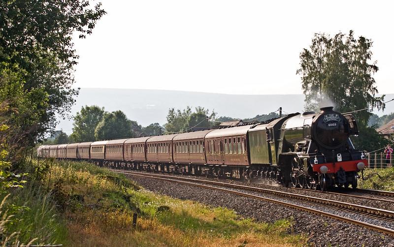 60103, 09.40 Holyhead-London Paddington, Cambrian Coast Express, Ponthir, near Newport, 8-6-16. Late. 47580 on rear.