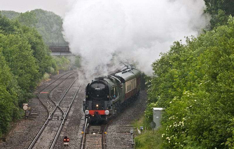 34046 Braunton (running as 34052 Lord Dowding to commemorate the 75th anniversary of the Battle of Britain), 06.35 Woking-Kingswear, The Dartmouth Express, departing Tiverton Loops, Willand, near Tiverton, 11-6-16.