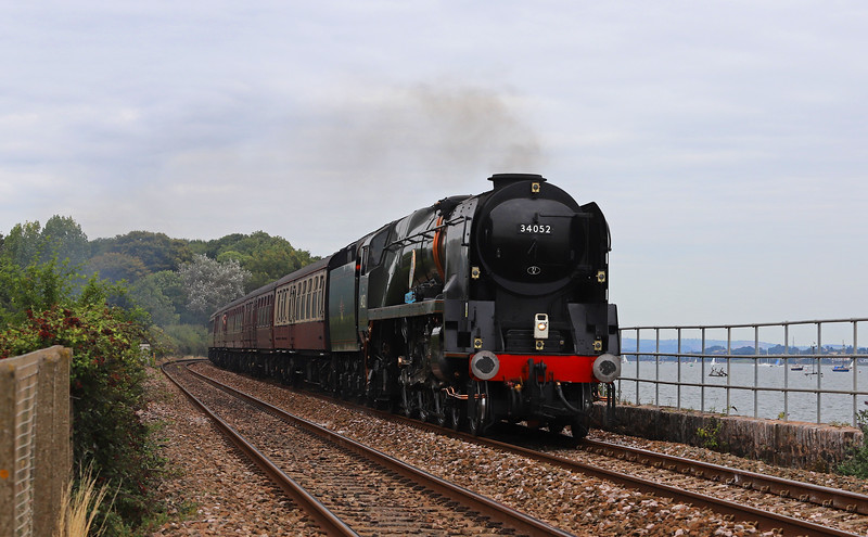 34046 Braunton, running as 34052 Lord Dowding,, 08.48 Bristol Temple Meads-Par, The Royal Duchy, Starcross, 2-9-18.