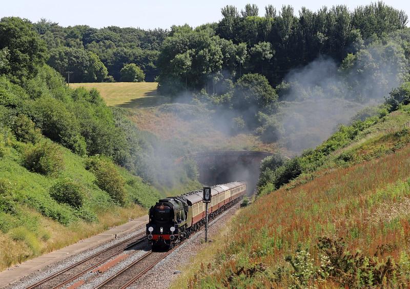 34046 Braunton (running as 34052 Lord Dowding)/47805 (D1935), 08.00 Bristol Temple Meads-Kingswear, via Westbury, English Riviera Express,<br /> Whiteball, 24-6-18.