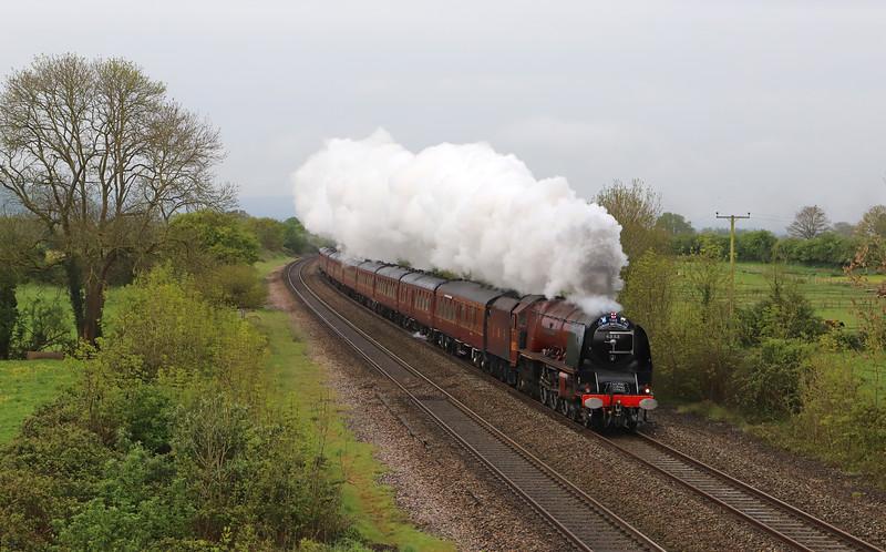 46233 Duchess of Sutherland, 08.20 Taunton-Preston, via Bristol Temple Meads, Hereford and Shrewsbury, day three, Great Britain X11 tour, Cogload Junction, near Taunton, 29-4-19.