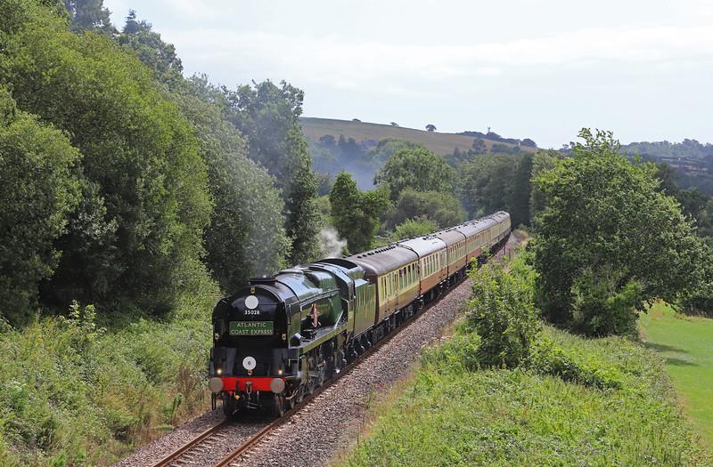 35028, 07.52 London Waterloo-Exeter St David's, Atlantic Coast Express, Wilmington, near Honiton, 10-8-19.
