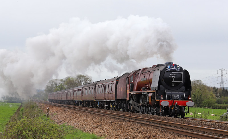 46233 Duchess of Sutherland, , 09.45 Plymouth-Minehead, via Bristol Temple Meads and Westbury, day two, Great Britain X11 tour, Pugham Crossing, near Burlescombe, 28-4-19.