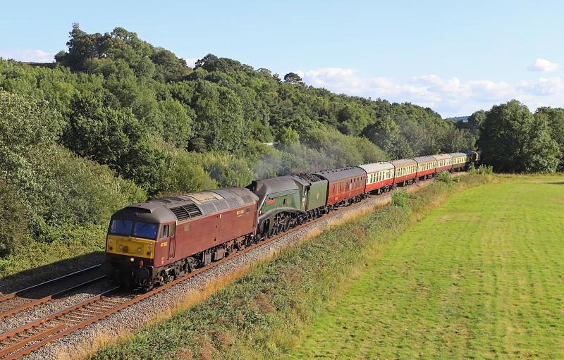47802/60009, 16.50 Kingswear-Bristol Temple Meads, Torbay Express, via Westbury, and Bath, Cullompton, 28-7-19.