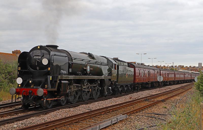 35018/47245, 17.39 Weymouth-London Victoria, via Southampton, The End of Southern Steam, 9-7-19. 48min late.
